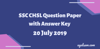SSC CHSL Question Paper with Answer Key 20 July 2019