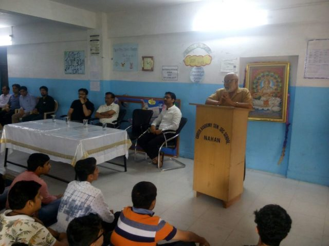 Respected Principal giving inspirational speech