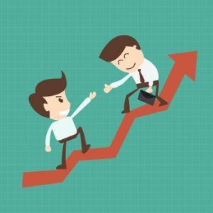 Financial adviser or business mentor help team partner up to pro