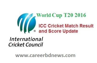ICC Cricket Match Result Score Update