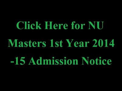 NU Masters 1st Year 2014-15 Admission Notice