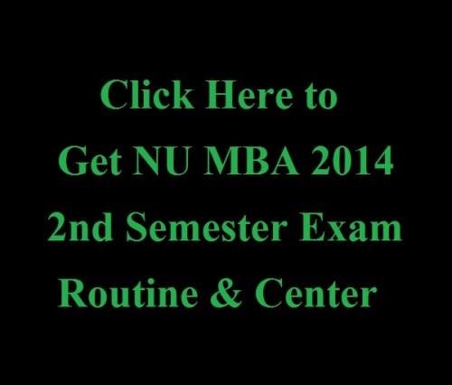 NU MBA 2014 2nd Semester Exam Routine Center