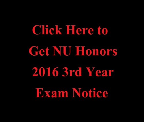 NU Honors 2016 3rd Year Exam Notice