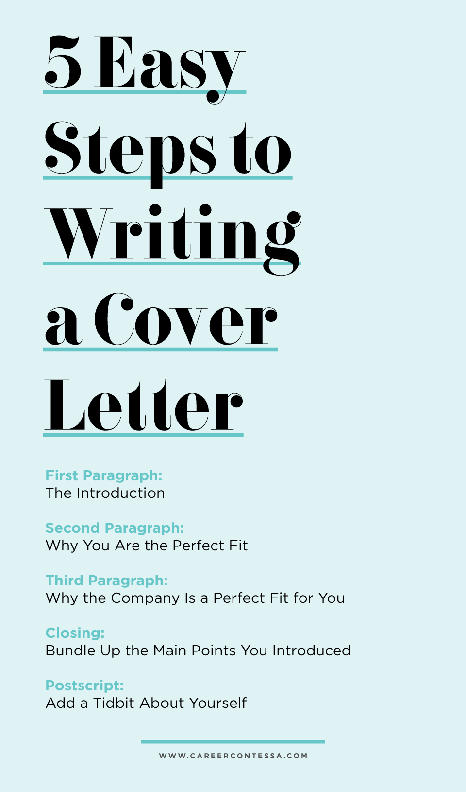 Writing Cover Letters 5 Easy Steps To Writing A Cover Letter Career Contessa