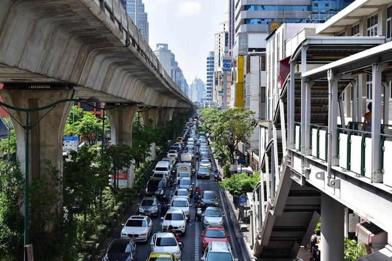 Sukhumvit Road is a busy and modern area of Bangkok