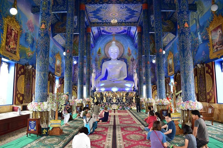 Things to do in Chiang Rai: inside Wat Rong Sear Tean (Blue Temple)