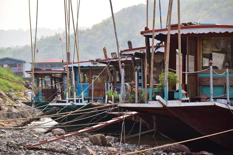 Boats at the port as we arrived at Luang Prabang