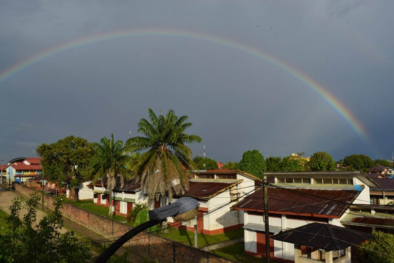 Rainbow view from Amazon House Hostel, Iquitos
