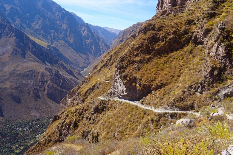 The Colca Canyon in Peru is the second-deepest canyon in the world