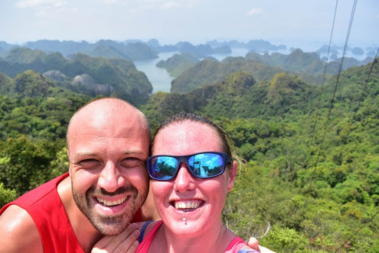 Looking down on Halong Bay, Vietnam, at the end of our career break travel adventure