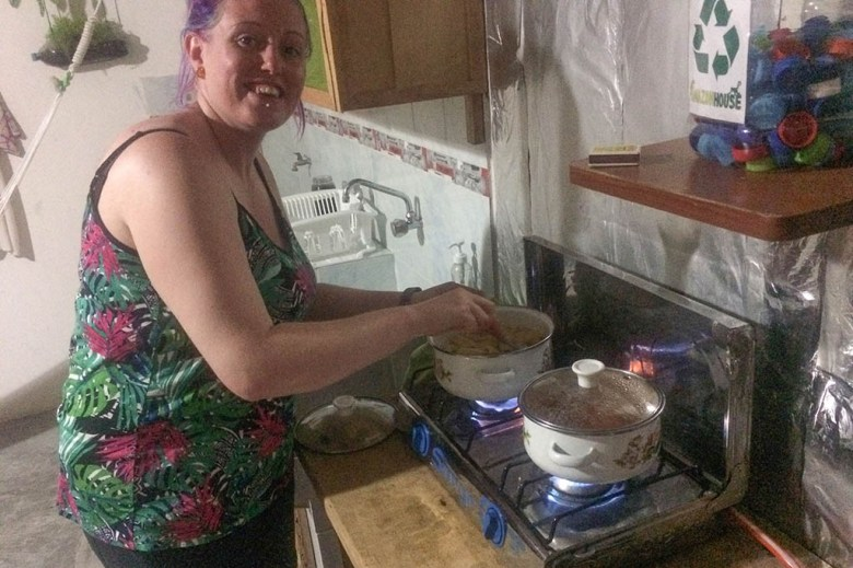 We looked for hostel with kitchen facilities so we could cook our own food – this is Amazon House Hostel in Iquitos