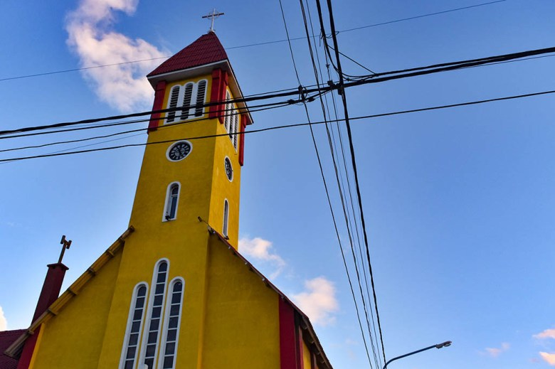 Iglesia Nuestra Señora de la Merced is a red-and-yellow church in the centre of Ushuaia