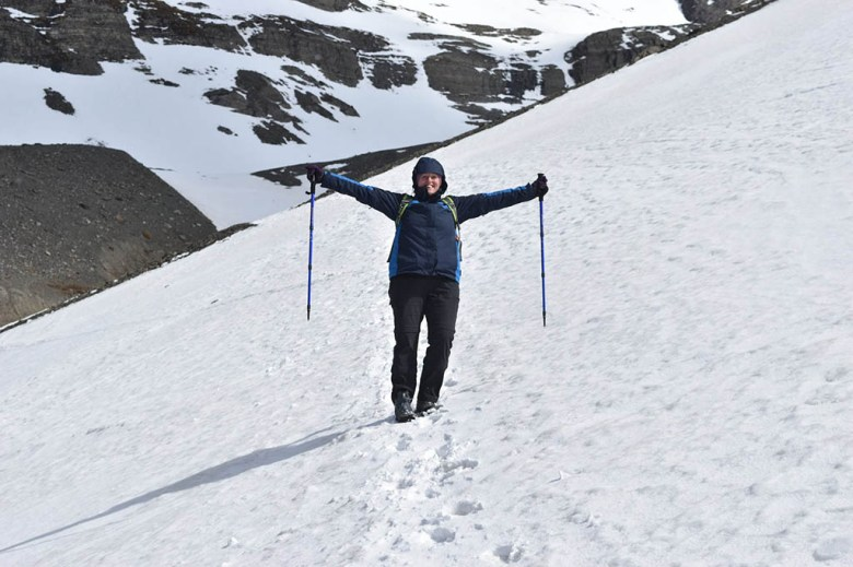 Lisa traversing Glacier Martial in her favourite Jack Wolfskin 3-in-1 jacket