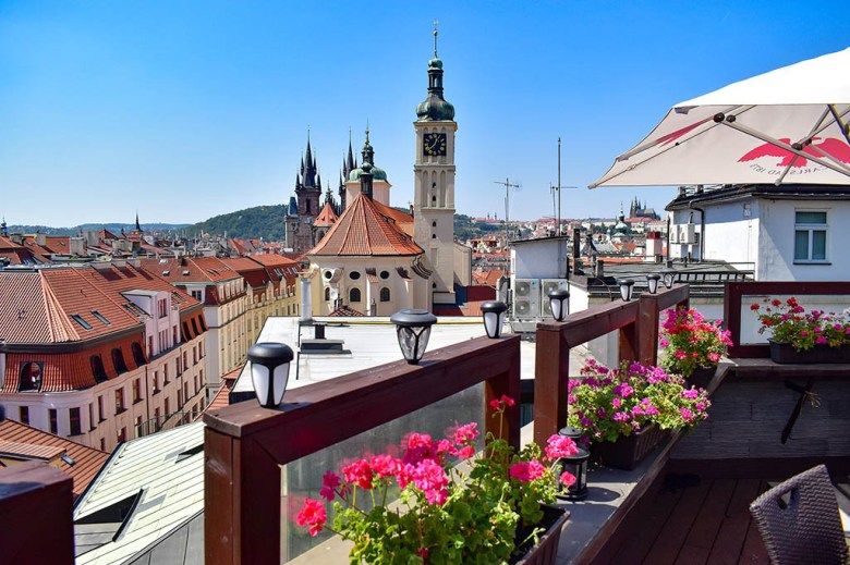 I spent much of July in the Czech Republic. This rooftop bar in Prague was one of many scenic working spots.