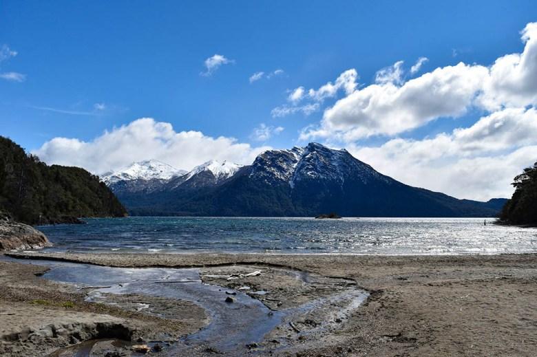 The beach at Villa Tacul is set inside an inlet of Lago Nahuel Huapi