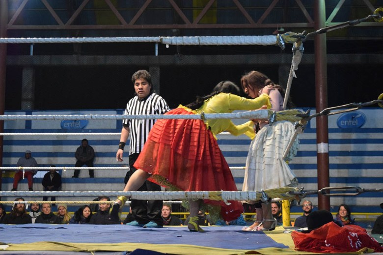 Cholita wrestlers in action at Multifuncional Ceja de el Alto, La Paz