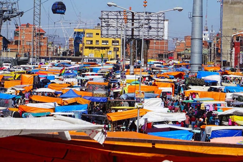 The colourful stalls of El Alto Market, the biggest market in Bolivia