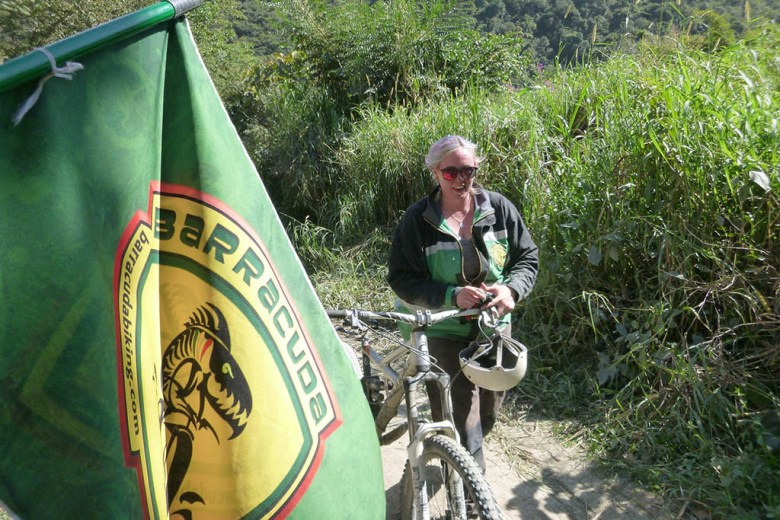 I made it to the finishing flag after over 60 kilometres of downhill biking!
