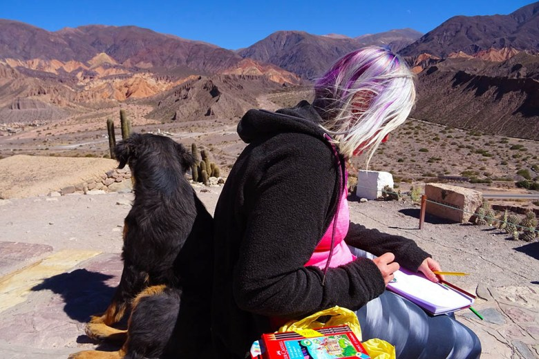 Taking time out to sketch with our new buddy Nancy during our road trip of north-west Argentina