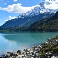 Torres Del Paine W Trek green lakes and snowy mountains