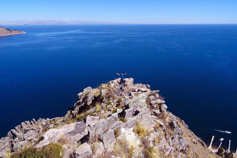 A short walk to the top of Cerro Calvario is rewarded with a great view of Lake Titicaca and Copacabana