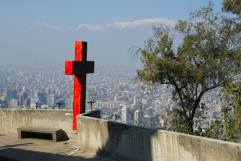 The view over Santiago from the top of Cerro San Cristóbal
