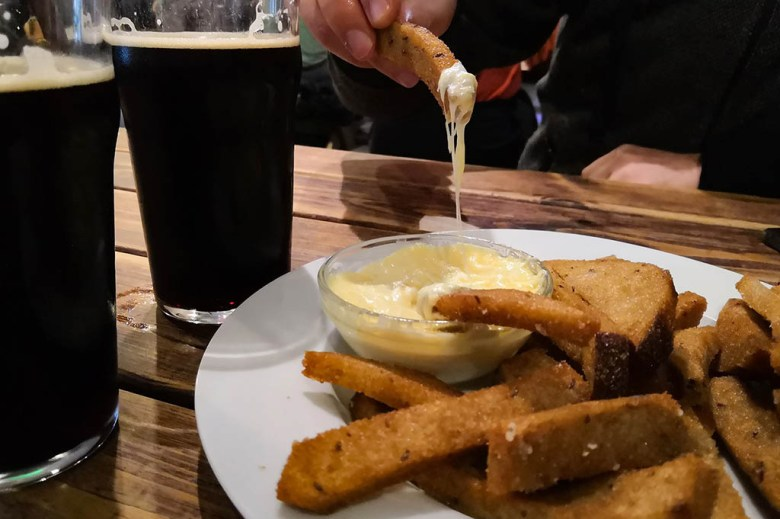 Kepta duona –fried bread chips – are one of the most popular bar snacks in Lithuania