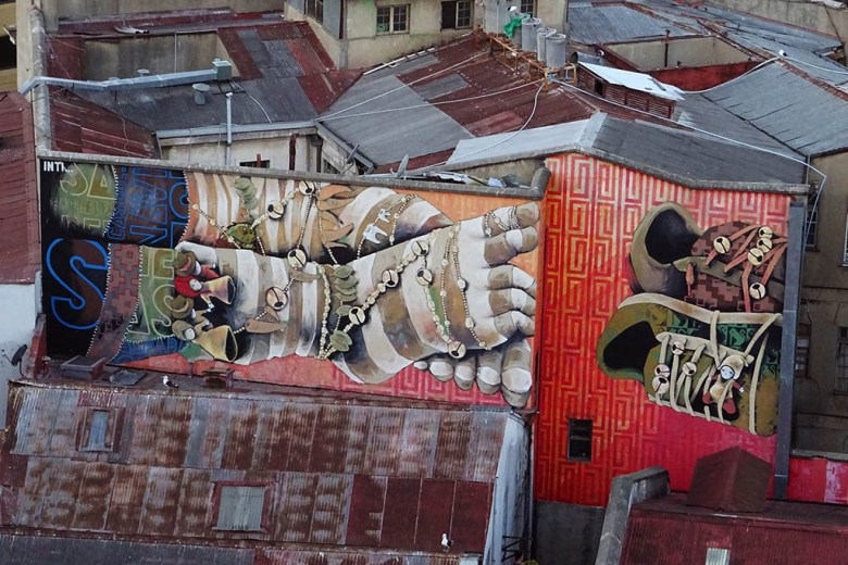 Murals in Valparaíso by legendary local street artist Inti