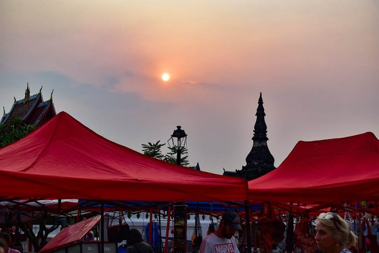Every night the streets of Luang Prabang city centre are taken over by red and blue market stalls