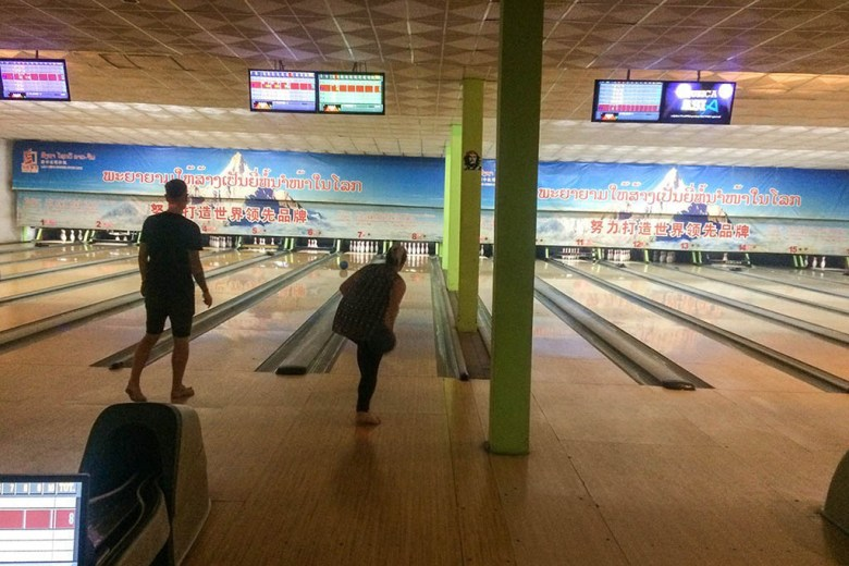 Lisa doing her thing at the legendary Luang Prabang bowling alley