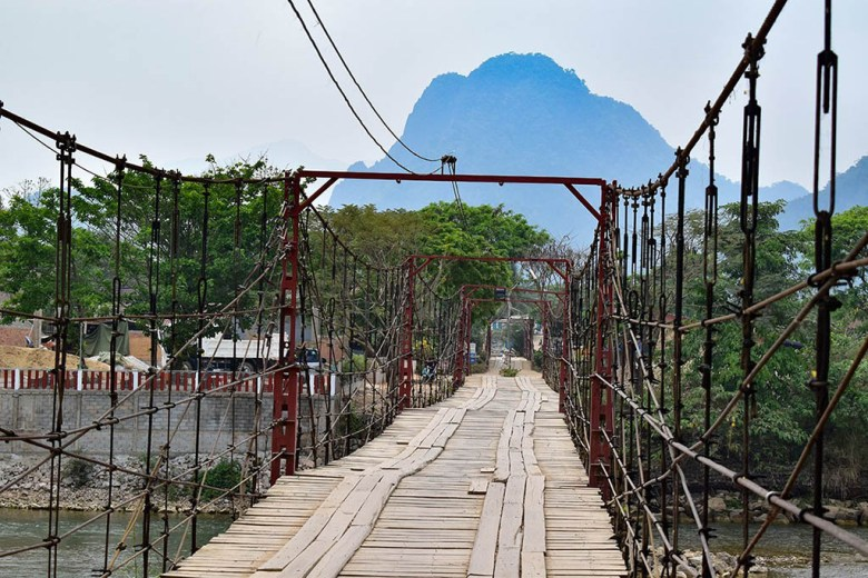 The view of Pha Ngeun over the toll bridge in Vang Vieng