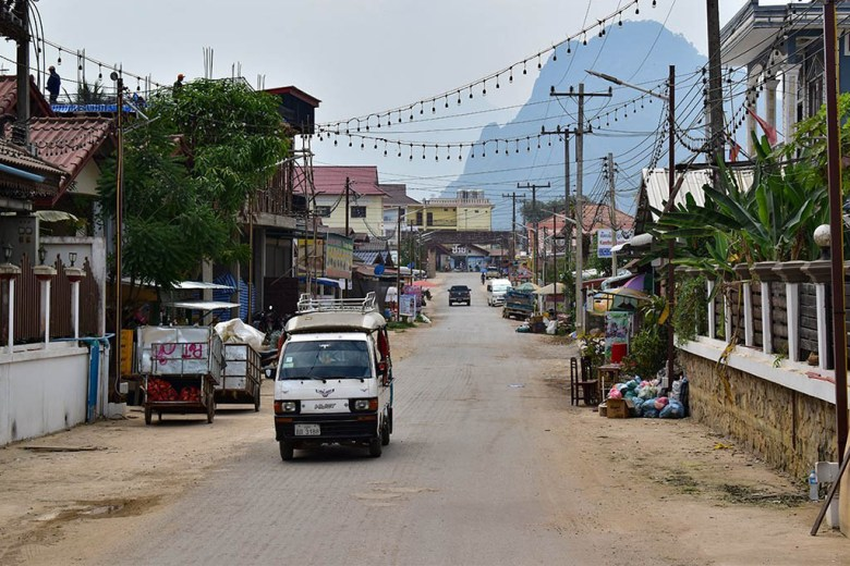 Pha Ngeun in the distance from the streets of Vang Vieng