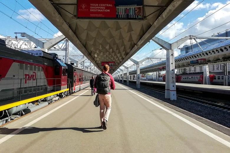 Anders on the train station platform in St Petersburg