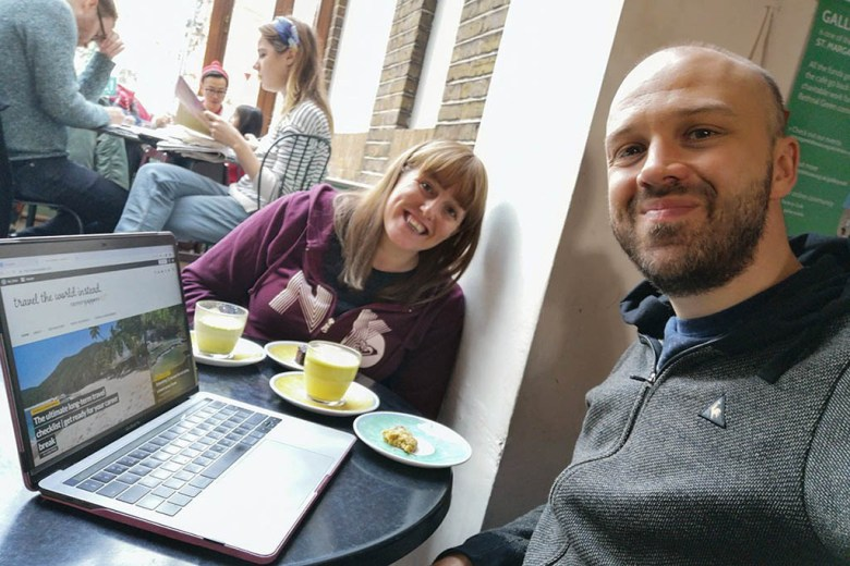 Working over a Saturday morning coffee at Gallery Café in Bethnal Green, London