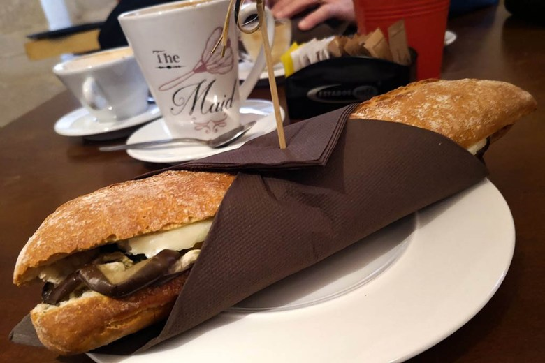 Paninis and coffees at The Corner, Valletta