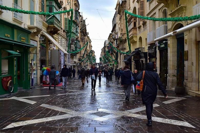 Republic Street runs through the centre of Valletta