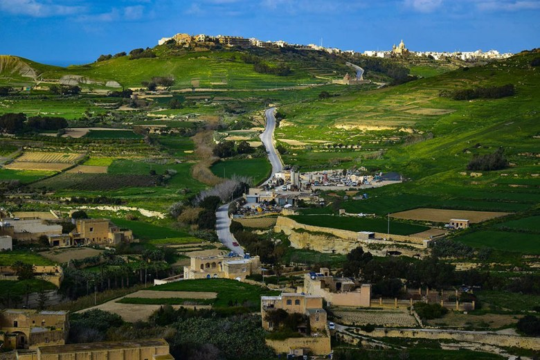 View of the road from Victoria to the Azure Window ruins in Gozo, Malta