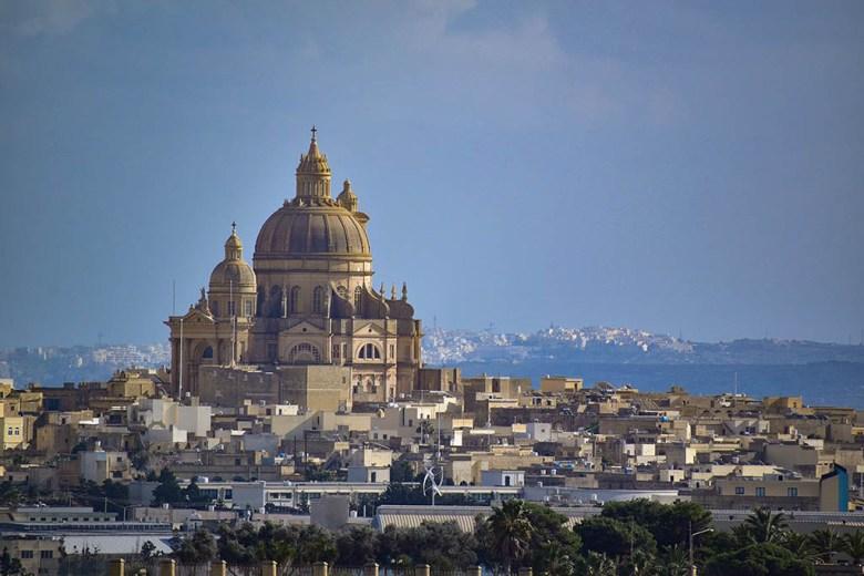 View of the giant Rotunda of Xewkija church from the top of La Cittadella, Gozo