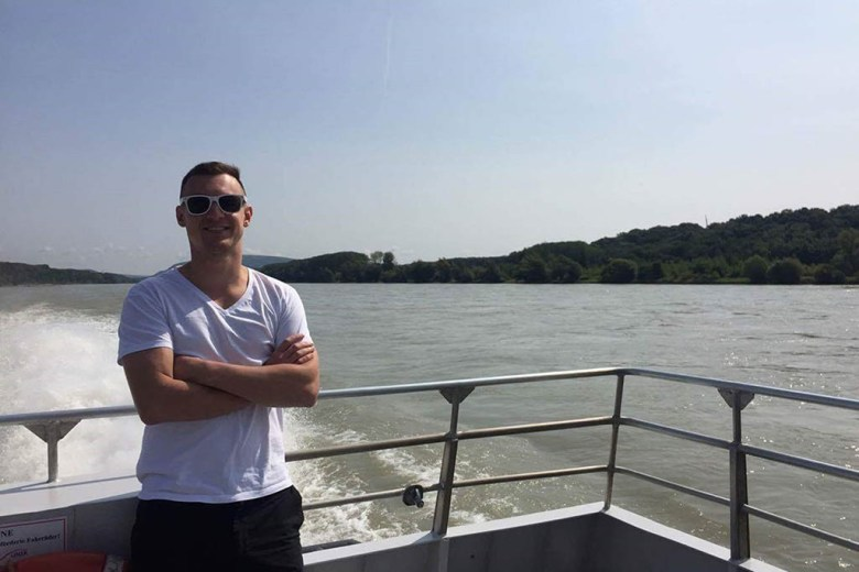 Alan relaxing on a boat ride on the Danube between Budapest and Bratislava