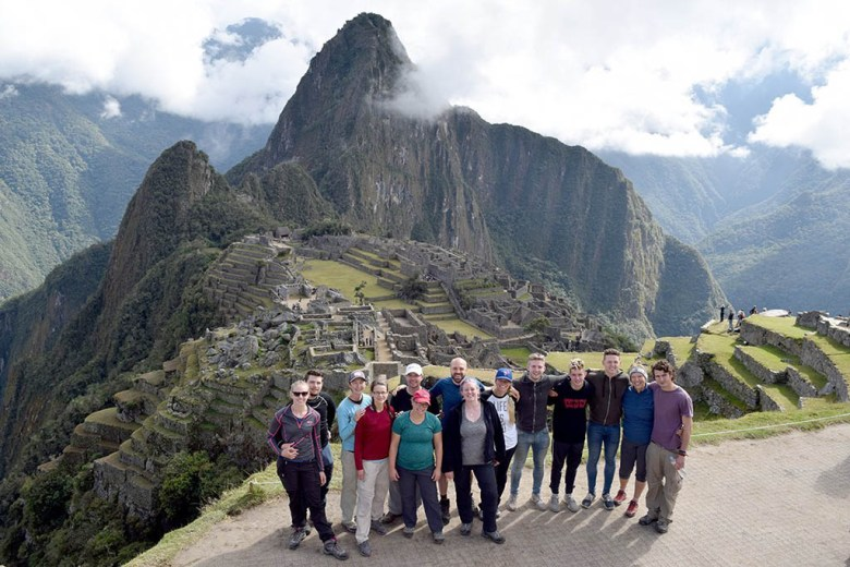 With our team of Inca Warriors at the end of our G Adventures Inca Trail tour