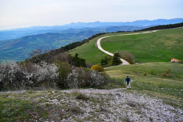 Lisa on Monte Subasio during our April road trip through Italy