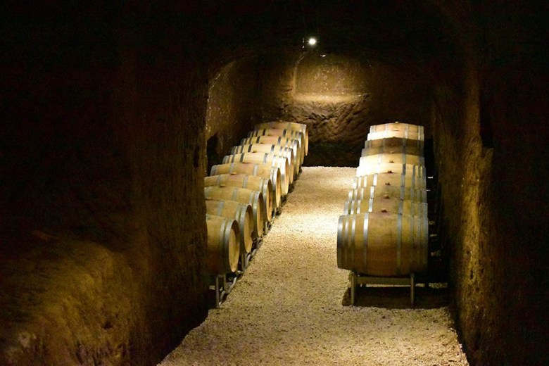 The cellars at Madonna Del Latte are built into the volcanic caves of 2000-year-old Etruscan tombs