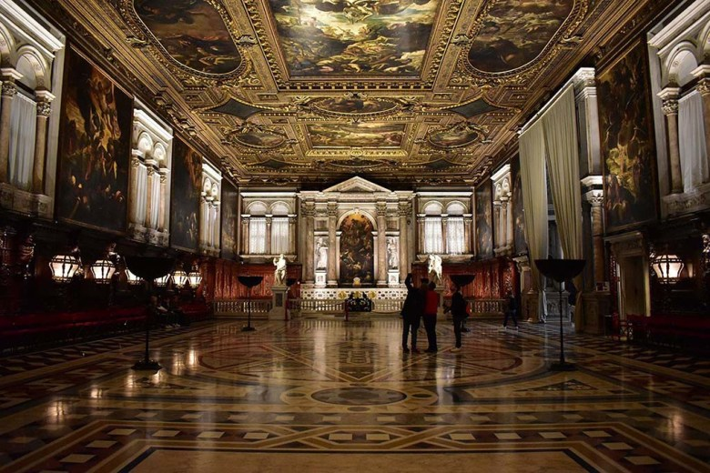 The walls and ceilings of Scuola San Rocco are emblazoned with magnificent historic paintings