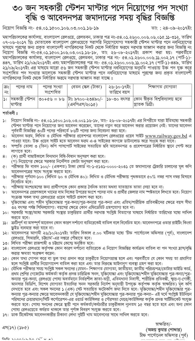 Bangladesh Railway Station Master Job Circular