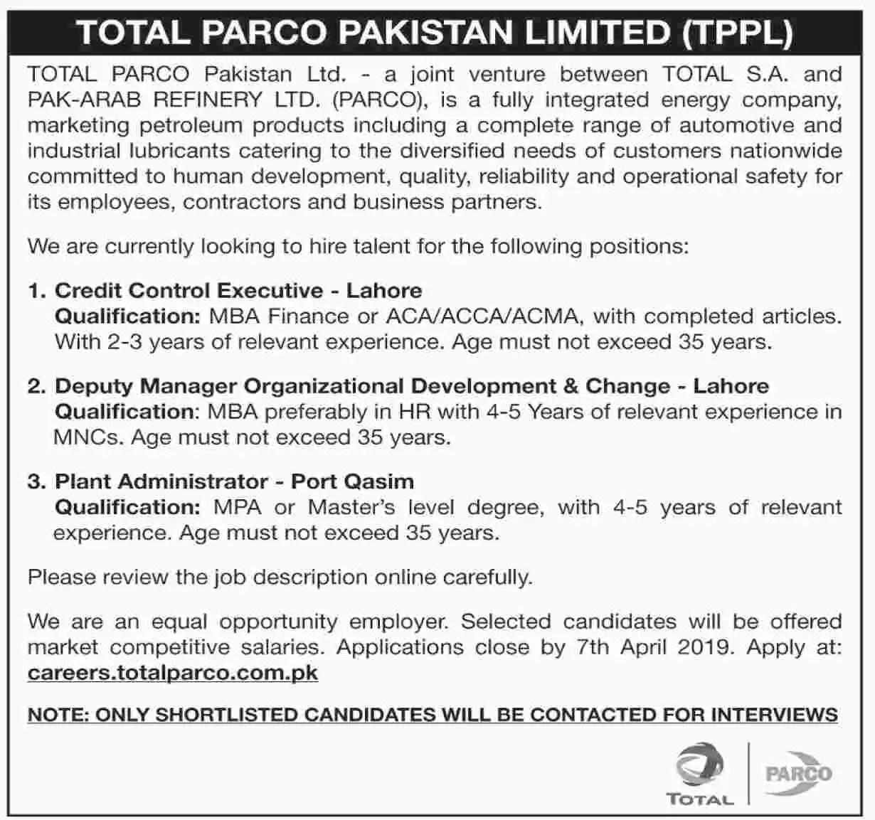 TOTAL PARCO Pakistan Limited Jobs April 2019