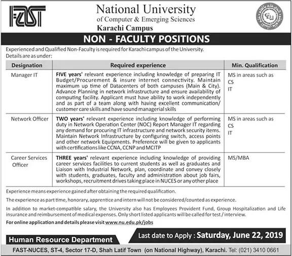 FAST National University Of Computer & Emerging Sciences Jobs June 2019