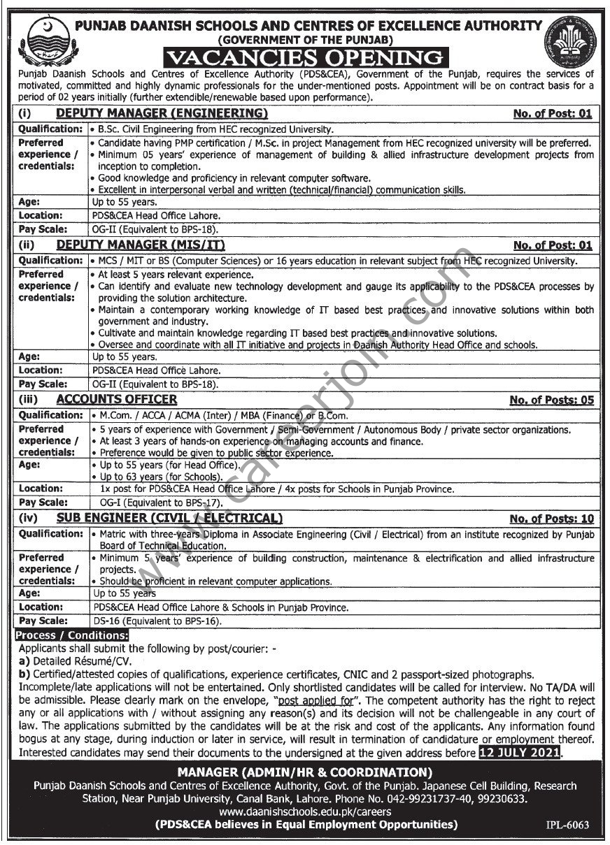 Punjab Daanish Schools & Centres of Excellence Authority PDS&CEA Jobs June 2021
