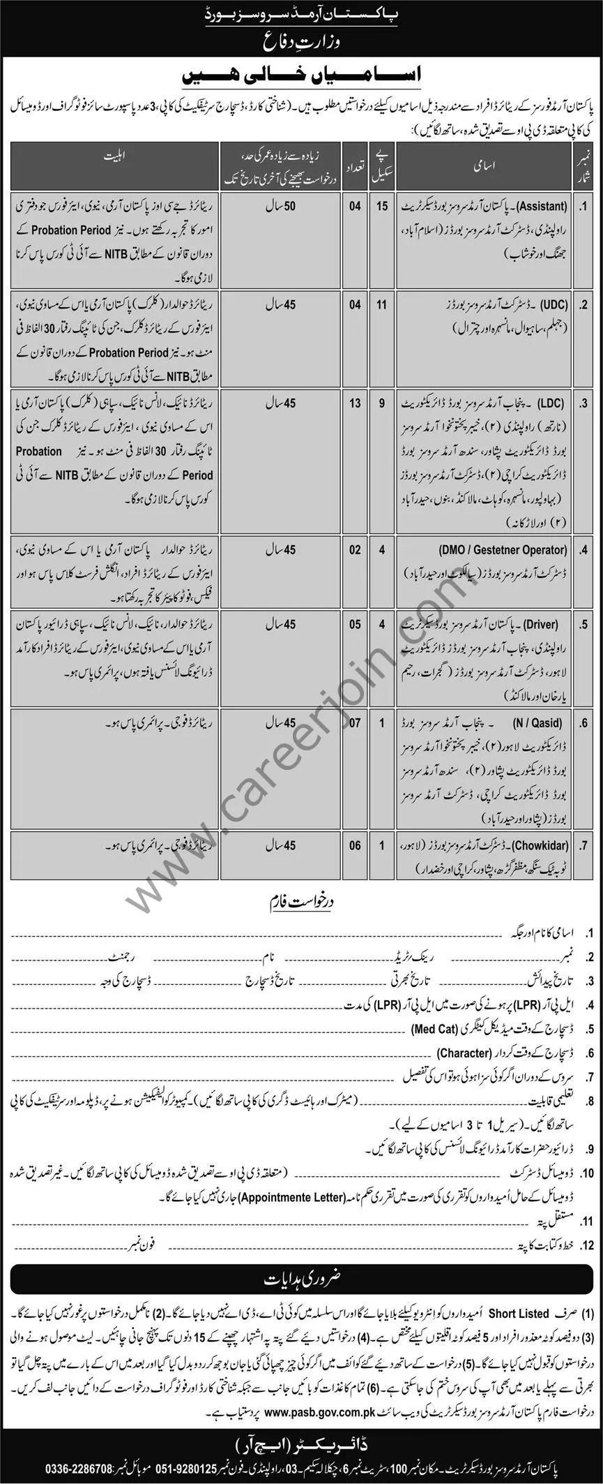 Pakistan Armed Services Board Jobs 12 September 2021 Express 01