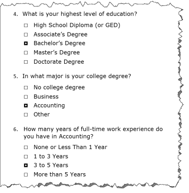 Excerpt of three questions from an online application regarding education level, degree major, and years of experience.