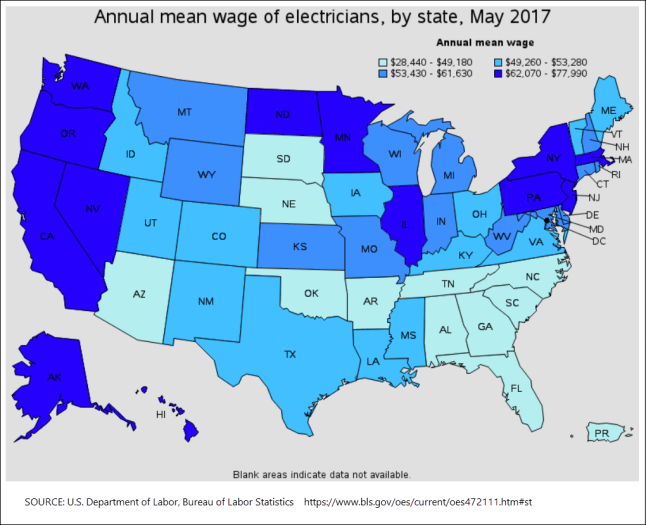 A map graphic from the U.S. Department of Labor showing the mean average wages for electricians, by state, for the year 2017.